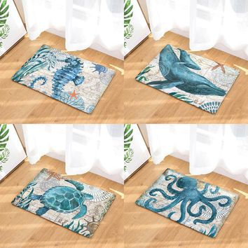 Autumn Fall welcome door mat doormat New Arrive Sea Animal Turtles  Entrance Door Light Thin Flannel Cute Cartoon Cozy Carpets Home Decor Kitchen Mats AT_76_7