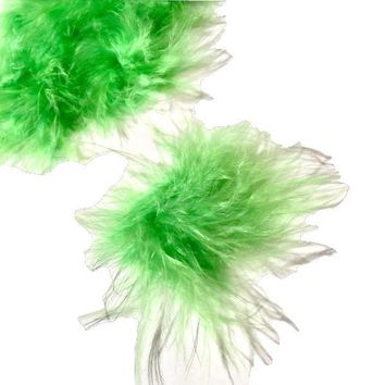 Lime green marabou feather puffs w/ sticky tabs - 2 inches / 1-10 pieces