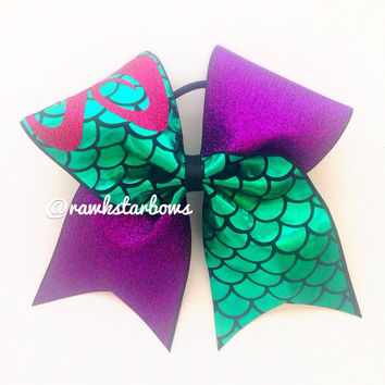 The Little Mermaid Ariel inspired Cheer Bow/cheerbow Disney