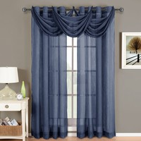 Abri Navy Grommet Crushed Sheer Curtain Panel