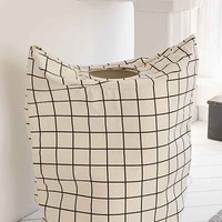 Black + White Grid Hamper