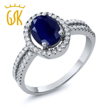 GemStoneKing 2.55 Ct Oval Natural  Blue Sapphire Gemstone Birthstone 925 Sterling Silver Women's Engagement Halo Ring