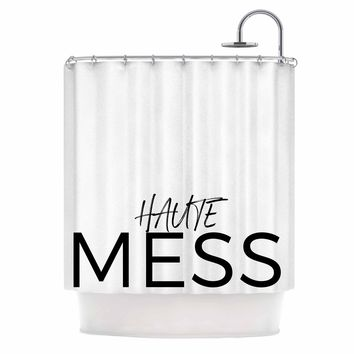 Hot Mess - Black White Typography Digital Shower Curtain