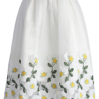 Kiss of Flowers Organza Midi Skirt White