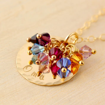 Oma Grandmother's Necklace with Swarovski Birthstone Crystals - Grandmother's Gift - Gold Oma Necklace - Grandma Noni Gigi Mimi Mamaw