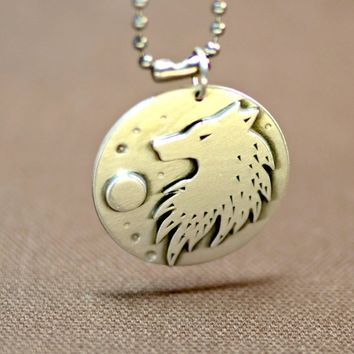Sterling silver wild wolf under full moon necklace