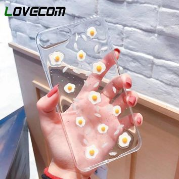 LOVECOM Epoxy Soft TPU Phone Case For iPhone 6 6S 7 8 Plus X Fashion Korean Style Eggs Transparent Phone Back Cover Cases Coque