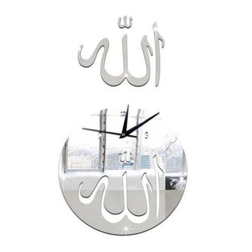 Mirror Wall Clock 3D Decoration Sticking   silver