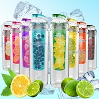 800ml Tritan Water Fruit Veg Infuser Bottles all colours BPA Free Sport Bike