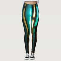 Yellow, green and blue stripped pattern leggings