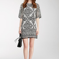 Fractured Tribal Print Shift Dress