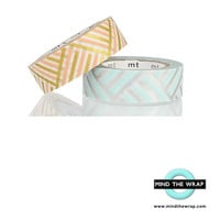 mt Corners Washi Tape Set - 2 rolls - Exceptionally Pretty Geometric pattern Gold & Silver Metallic Pastel Peach and Aqua - 15mm x 10m each