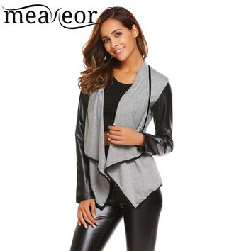 Meaneor Synthetic Leather Patchwork Open Front Cardigan Autumn Women Patchwork Long Sleeve Asymmetrical Cardigan Casual Outwears