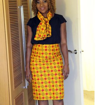 Women's Ankara High Waist Pencil Skirt