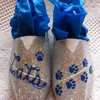 Silver sparkly & blue University of Kentucky (UK) Wildcat shoes hand painted slip on. GO CATS