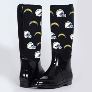 San Diego Chargers Cuce Shoes Women's Enthusiast II Rain Boots – Black - http://www.shareasale.com/m-pr.cfm?merchantID=7124&userID=1042934&productID=525388504 / San Diego Chargers