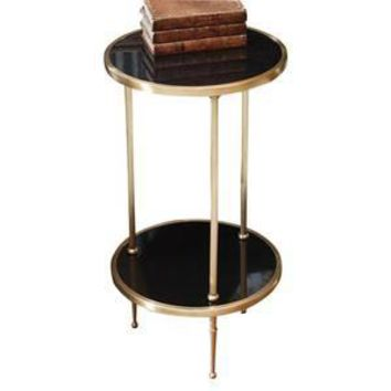 Petite Two Tiered Occasional Table in Antique Brass