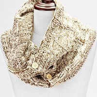 Knitted Button Infinity Scarf Ivory