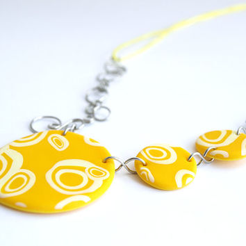 Yellow Necklace, Adjustable Circles Necklace, OOAK