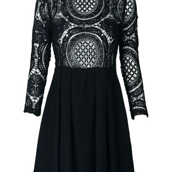 Black High Neck Crochet Lace Panel Skater Dress