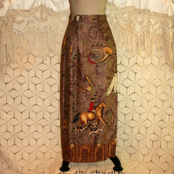 Fall Skirt Maxi Wrap Skirt Novelty Print Fox Hunt Polo Horse Skirt English Hounds Equestrian Vintage Skirt Size 4 Skirt Small Women Clothing