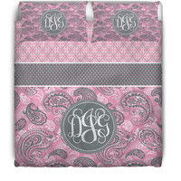 Pink & Gray Pixie Monogrammed / Personalized Duvet Cover or Comforter Set