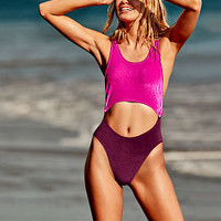 Online Exclusive Velvet Cutout One-Piece - PINK - Victoria's Secret