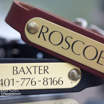 Personalized Name Leather Dog Collar