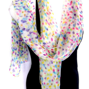 Hand Painted Silk Scarf, Multicolored Dots, White Silk Chiffon Scarf, Gift For Her, Gift Under 50