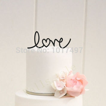 wedding cake decor - LOVE with Heart Wedding Cake Topper Acrylic Personalized Design Wedding Party Decoration Cake Accessory