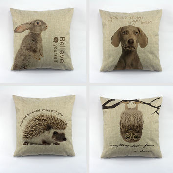 Pillow cushion covers of Dogs, Deers, Rabbits, Animals for Home Sofa Car