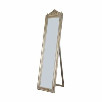 Camilla Full Length Standing Mirror with Decorative Design, Champagne