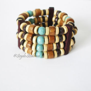 Free shipping Retro stack wooden bracelet