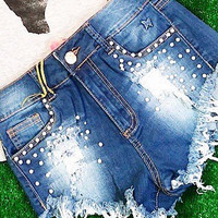 PEARL GIRL HIGH WAIST SHORTS