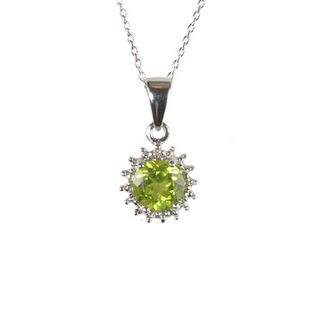 Sterling Silver Diamond and 6mm Round Peridot Gemstone Pendant Necklace