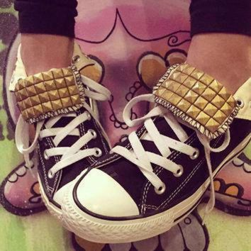 DCCKGQ8 custom gold studded black converse high tops chuck taylors all sizes colors