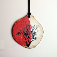 Pendant  Owl in a Tree Necklace on a Tree Branch Slice - All Natural -