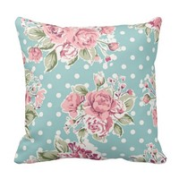 shabby chic mint polka dot pink white vintage girl throw pillows