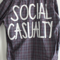 """5 Seconds of Summer 5SOS Inspired """"Social Casualty"""" Plaid Shirt Mens L"""