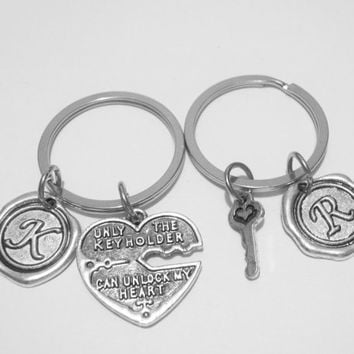 2 Only The Keyholder Can Unlock My Heart Wax Seal Initial Couples Boyfriend Girlfriend Keychains
