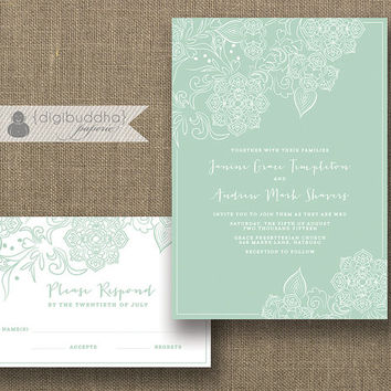 Mint & White Lace Wedding Invitation and RSVP 2 Piece Suite Shabby Chic Classic Mint Green Modern Script Floral DiY or Printed- Janine
