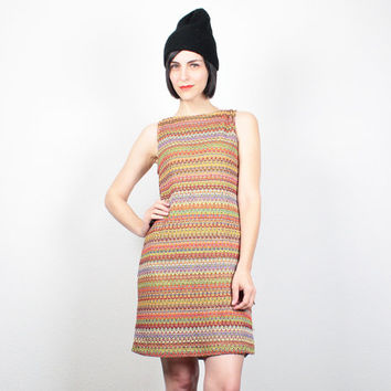 Vintage 90s Dress Mini Dress Rainbow Knit Dress Missoni Style Striped Dress 1990s Dress Club Kid Dress Bodycon Dress Bandage Dress L Large