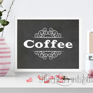 Coffee Chalk Background Printable, Coffee typography Printable, Kitchen Printable, Kitchen Print, Kitchen Art, Tea Decor Print