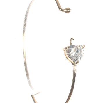 Clear Heart Shape Stone Metal Wire Bangle Bracelet