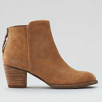 AEO Back Zip Heeled Bootie, Caramel