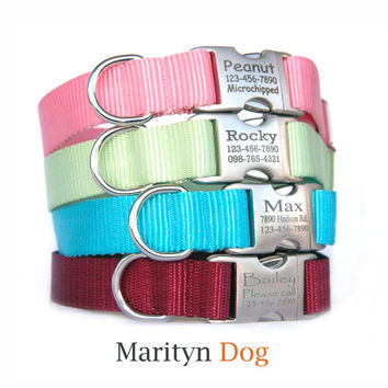 Personalized ID dog collar dog leash Solid nylon laser engraved metal buckle dog collar ID tag collar Non leather animal friendly dog collar