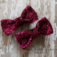 Dark Pink Hairbows, Sparkly Bows, Glitter Miniature Tuxedo Bows, Dance Recital, Christmas, 2 Inch, Set of 2, Glittery, Mini Bow