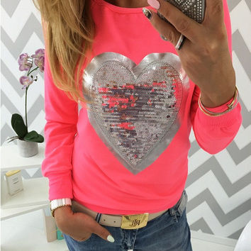 Heart Pattern Sequined Long Sleeve T-Shirt