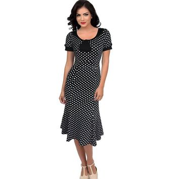 Oxiuly Women Retro Dress 50s 60s Vintage Rockabilly Swing Feminino Vestidos O Neck Short Sleeves Polka Dot Print Mermaid Dress
