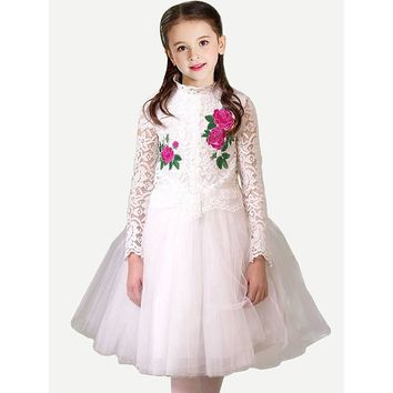 Kids Contrast Lace Tiered Mesh Dress